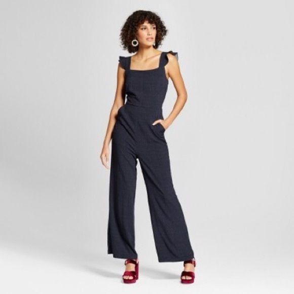 5fa9dce4926 Navy white striped jumpsuit